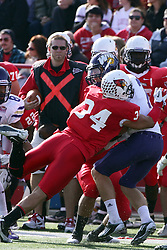 05 November 2011:  Josh Howe takes out Josh Hudson with a hit that temporarily sidelines Hudson during an NCAA football game between the Western Illinois Leathernecks and the Illinois State Redbirds at Hancock Stadium in Normal IL