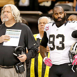 Oct 5, 2014; New Orleans, LA, USA; New Orleans Saints defensive coordinator Rob Ryan and outside linebacker Junior Galette (93) against the Tampa Bay Buccaneers during the first quarter of a game at Mercedes-Benz Superdome. Mandatory Credit: Derick E. Hingle-USA TODAY Sports
