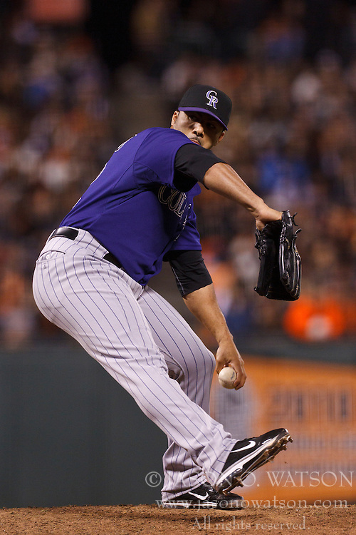 Sep 26, 2011; San Francisco, CA, USA;  Colorado Rockies relief pitcher J.C. Romero (32) pitches against the San Francisco Giants during the eighth inning at AT&T Park. San Francisco defeated Colorado 3-1.