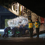 Ebola victim put on a Hercules transport plane at Glasgow Airport