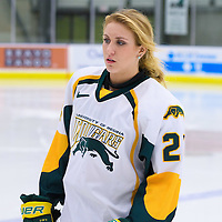 1st year forward Merissa Zerr (24) of the Regina Cougars in action during the Women's Hockey Home Game on November 25 at Co-operators arena. Credit: Arthur Ward/Arthur Images