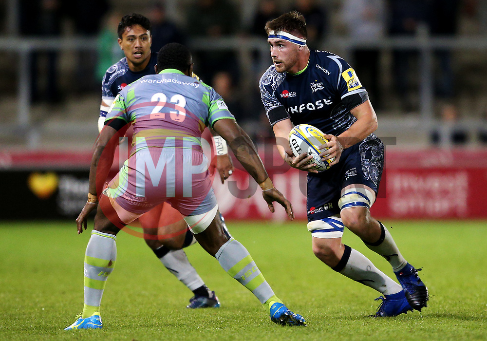 George Nott of Sale Sharks takes on Vereniki Goneva of Newcastle Falcons - Mandatory by-line: Matt McNulty/JMP - 08/09/2017 - RUGBY - AJ Bell Stadium - Sale, England - Sale Sharks v Newcastle Falcons - Aviva Premiership
