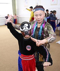 January 2, 2018 - Nantong, Nantong, China - Nantong, CHINA-2nd January 2018:(EDITORIAL USE ONLY. CHINA OUT) ..Kids learn to perform Peking Opera at a primary school in Hai'an County, Nantong, east China's Jiangsu Province. (Credit Image: © SIPA Asia via ZUMA Wire)