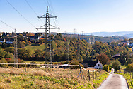 high voltage pylons in Herdecke, here the network operator Amprion will expand the route to 380-kilovolt lines, which has led to protests among the affected property owners, Herdecke, Germany.<br /> <br /> Hochspannungsmasten in Herdecke, hier wird der Netzbetreiber Amprion die Trasse um 380-Kilovolt-Leitungen ausbauen, was zu Protesten unter den betroffenen Grundstueckseigentuemern gefuehrt hat, Herdecke, Deutschland .