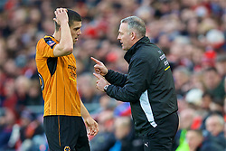LIVERPOOL, ENGLAND - Saturday, January 28, 2017: Wolverhampton Wanderers' manager Paul Lambert	speaks to Conor Coady during the FA Cup 4th Round match against Liverpool at Anfield. (Pic by David Rawcliffe/Propaganda)