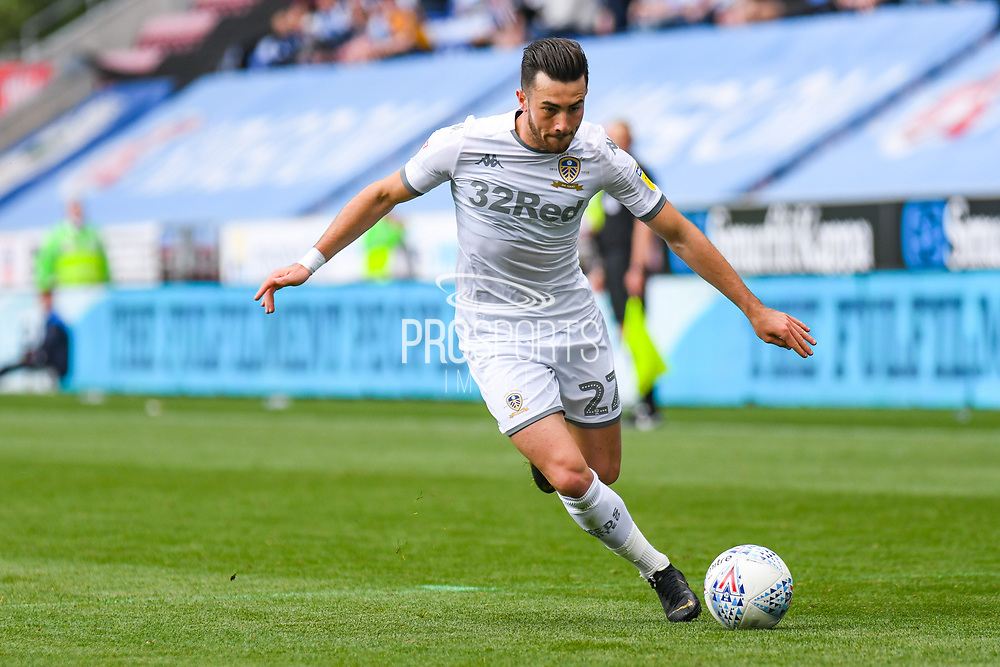 Leeds United midfielder Jack Harrison (22) in action during the EFL Sky Bet Championship match between Wigan Athletic and Leeds United at the DW Stadium, Wigan, England on 17 August 2019.