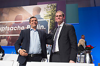 30 APR 2016, BERLIN/GERMANY:<br /> Raed Saleh (L), SPD Fraktionsvorsitzender Berliner Abgeordnetenhaus, und Michael Mueller (R), SPD, Reg. Buergermeister Berlin, nach Muellers Rede vor seiner Wahl zum Landesvorsitzenden, Landesparteitag der SPD Berlin, Estrell Convention Center<br /> IMAGE: 20160430-01-238<br /> KEYWORDS: party congress, Parteitag, Michael Müller