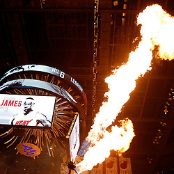 Jun 9, 2013; Miami, FL, USA;  Miami Heat small forward LeBron James (not pictured) is introduced during the first quarter of game two of the 2013 NBA Finals against the San Antonio Spurs at the American Airlines Arena. Mandatory Credit: Derick E. Hingle-USA TODAY Sports