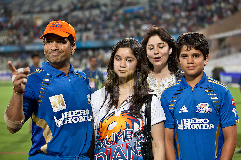 Sachin with his Daughter Sara, wife Dr.Anjali,Son Arjun during match 27 of the Indian Premier League ( IPL ) between the Deccan Chargers and the Mumbai Indians held at the Rajiv Gandhi International Cricket Stadium in Hyderabad on the 24th April 2011..Photo by Saikat Das/BCCI/SPORTZPICS