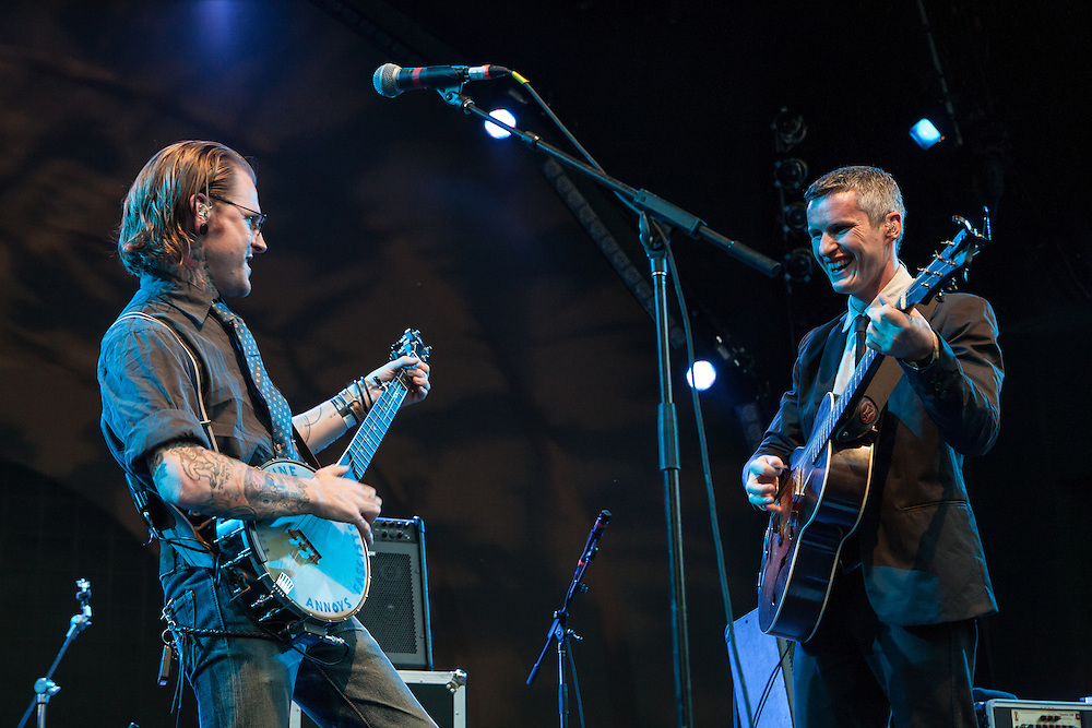 Copper McBean, left, and Pete Bernhard of The Devil Makes Three on stage at Celebrate Brooklyn.
