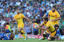 Pablo Matera of the Jaguares offloads during the Super Rugby match between DHL Stormers and Jaguares held at DHL Newlands in Cape Town, South Africa on the 4th March 2017.<br /> <br /> Photo by Ron Gaunt/Villar Press