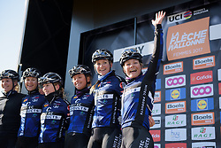 Emilie Moberg waves to a friend in the crowds at sign on for La Flèche Wallonne Femmes - a 120 km road race starting and finishing in Huy on April 19 2017 in Liège, Belgium.