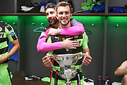 Forest Green Rovers Christian Doidge(9) and Forest Green Rovers goalkeeper Sam Russell(23) during the Vanarama National League Play Off Final match between Tranmere Rovers and Forest Green Rovers at Wembley Stadium, London, England on 14 May 2017. Photo by Shane Healey.