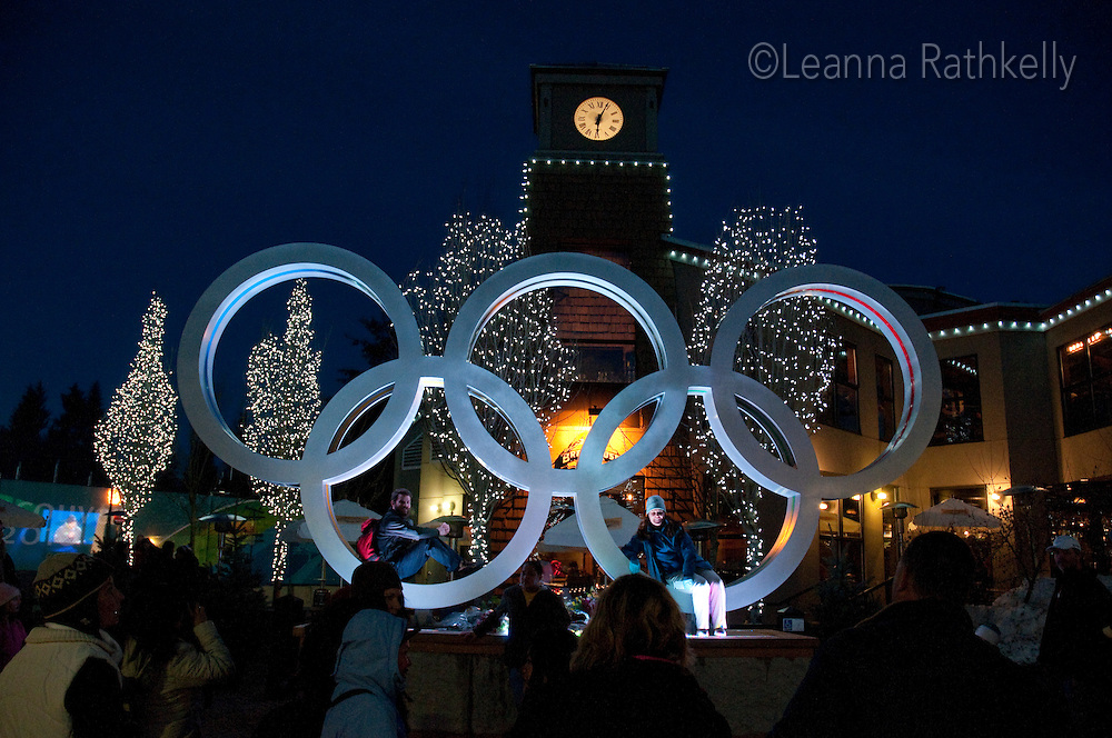The Olympic Rings atract visitors all day and night during the 2010 Olympic Winter Games in Whistler, BC Canada.
