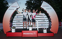 Jake Stewart (middle) with (l) Charles Page and (r) Jim Brown during Prudential RideLondon Grand Prix Youth Boys' Race ceremony , during Prudential RideLondon,  2015 Saturday 1st August, 2015. <br /> <br /> Prudential RideLondon is the world's greatest festival of cycling, involving 95,000+ cyclists – from Olympic champions to a free family fun ride - riding in five events over closed roads in London and Surrey over the weekend of 1st and 2nd August 2015. <br /> <br /> Photo: Jon Buckle for Prudential RideLondon<br /> <br /> See www.PrudentialRideLondon.co.uk for more.<br /> <br /> For further information: Penny Dain 07799 170433<br /> pennyd@ridelondon.co.uk