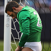 Goalkeeper Richard Wright, Manchester City, make last minute adjustments to his kit  during the Manchester City V Chelsea friendly exhibition match at Yankee Stadium, The Bronx, New York. Manchester City won the match 5-3. New York. USA. 25th May 2012. Photo Tim Clayton