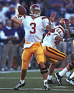 USC quarterback Carson Palmer during game action against Kansas State at KSU Stadium in Manhattan, Kansas in 2002.