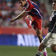 Claudio Pizarro, FC Bayern Munich, shoots during the FC Bayern Munich vs Chivas Guadalajara, Audi Football Summit match at Red Bull Arena, New Jersey, USA. 31st July 2014. Photo Tim Clayton
