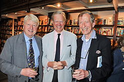 Left to right, STANLEY JOHNSON, SIR TIMOTHY DAUNT and SIR JOHN WESTON at a party to celebrate the publication of Stanley Johnson's new book 'Where The Wild Things Were' held at Daunt Books, 83 Marylebone High Street, <br /> London W1 on 18th July 2012.