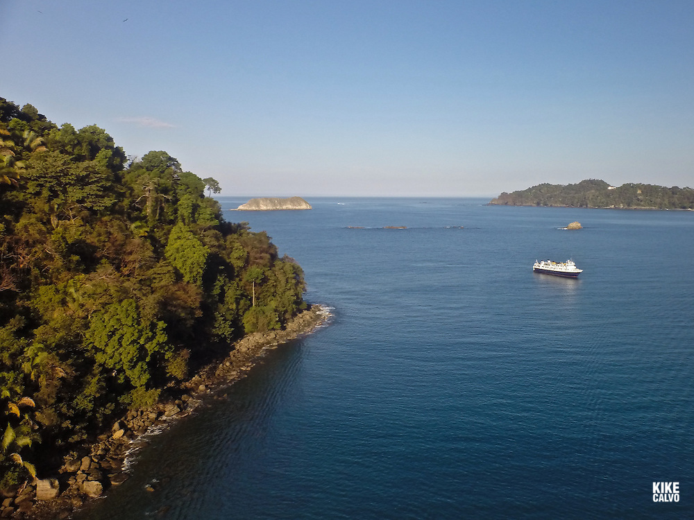 Lindblad / National Geographic Sea Lion ship anchored in Manuel Antonio National Park.