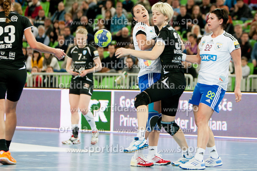Vergeliuk Maryna of RK Krim Mercator during handball match between RK Krim Mercator (SLO) and Oltchim Rm. Valcea (ROM) in 2th Round of EHF Women's Champions League 2012/13 on Februar 10, 2013 in Arena Stozice, Ljubljana, Slovenia. (Photo By Urban Urbanc / Sportida)