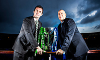 28/01/15<br /> HAMPDEN - GLASGOW <br /> Celtic Manager Ronny Deila (left) joins Rangers Caretaker Manager Kenny McDowall (right) as their side's prepare to face each other in a Scottish League Cup Semi-Final old firm clash.
