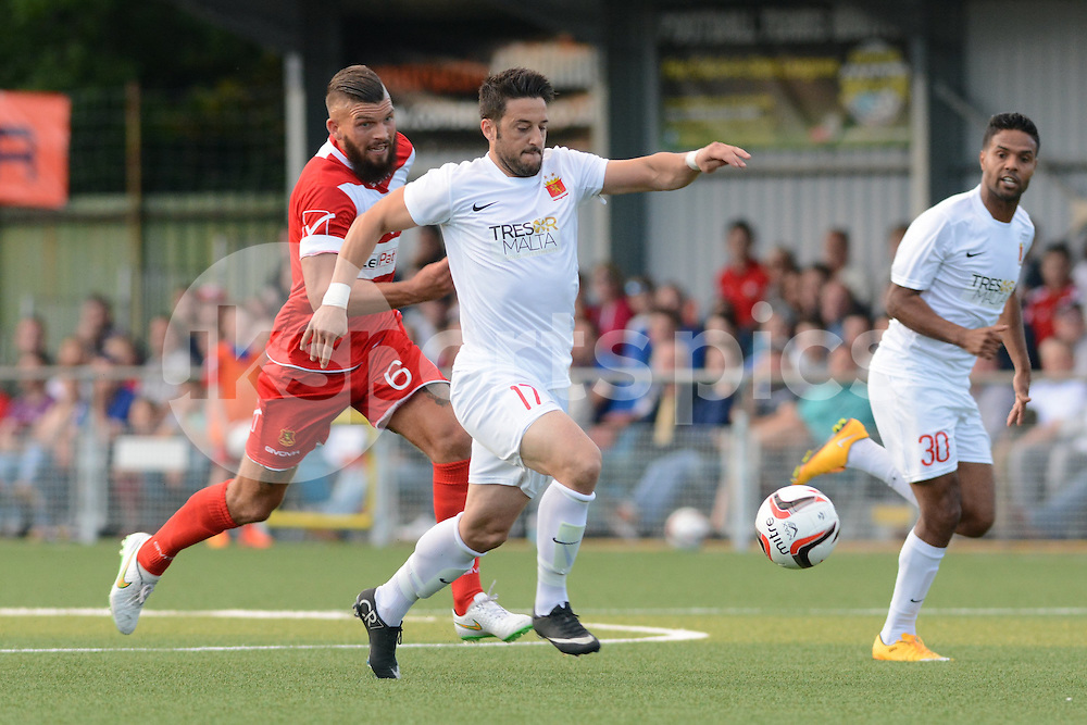 Valletta's Jean Pierre Mifsud during the Europa League Qualifying match between Newtown AFC and Valletta FC at Paveways Latham Park Stadium, Newtown, Powys, Wales on 2 July 2015. Photo by Garry Griffiths.