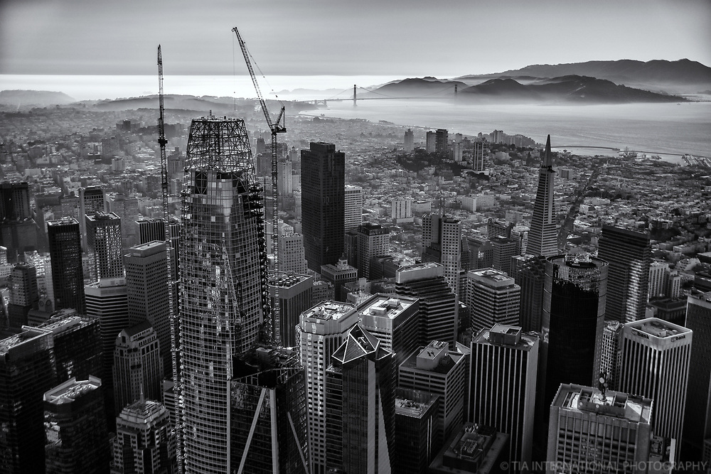 Downtown SF & Golden Gate Bridge (monochrome)