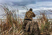 Photo No 1 of series - Hunter kills canvasback drake on open water marsh.