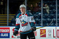 KELOWNA, CANADA - FEBRUARY 23: Conner Bruggen-Cate #20 of the Kelowna Rockets stands on the ice during warm up against the Seattle Thunderbirds on February 23, 2018 at Prospera Place in Kelowna, British Columbia, Canada.  (Photo by Marissa Baecker/Shoot the Breeze)  *** Local Caption ***
