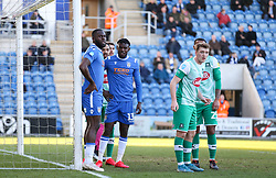 Frank Nouble of Colchester United waits for the delivery of a corner - Mandatory by-line: Arron Gent/JMP - 08/02/2020 - FOOTBALL - JobServe Community Stadium - Colchester, England - Colchester United v Plymouth Argyle - Sky Bet League Two