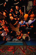 View of crowded dance floor, from above, 2000's