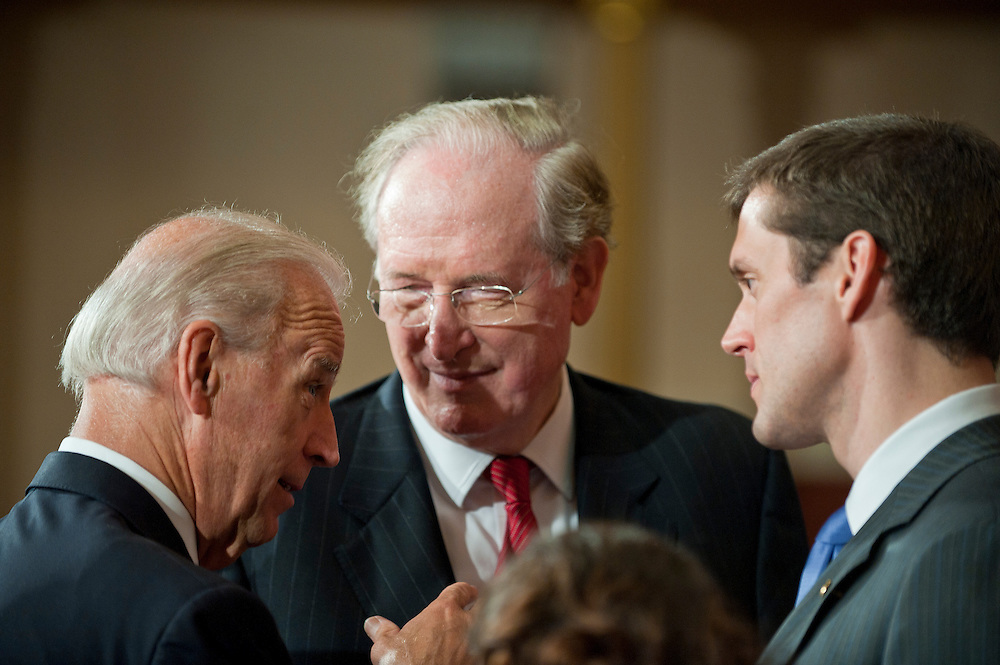 Jul 20, 2010 - Washington, District of Columbia, U.S., - Vice President JOE BIDEN gives some advice to  CARTE GOODWIN after he was sworn in Tuesday as the interim replacement for the late Sen. Robert Byrd of West Virginia. ALSO PICTURED: Senator JAY ROCKEFELLER (D-WV), center.(Credit Image: © Pete Marovich/ZUMA Press)