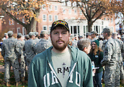 Tyler Daniels, an undergraduate student double majoring in War and Peace Studies and Political Science, poses for a portrait on College Green before the start of the Veterans Day Ceremony on November 11, 2015. Daniels is a veteran and the president of the Combat Veterans Club at Ohio University. Photo by Emily Matthews