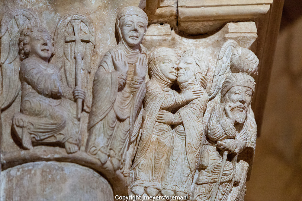 Romanesque Capital in the St. Martin de Tours de Frormista. Capital featuring the annunciation. San Juan de Ortega church.  The Capital represent several scenes of the birth of Jesus. The Annunciation receives a ray of sunlight at twilight during the spring and fall equinoxes.