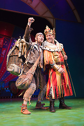 "© Licensed to London News Pictures. 26/07/2012. London, England. Jon Culshaw as King Arthur and Todd Carty as Patsy. Monty Python's ""Spamalot"" musical based on the film ""Monty Python and the Holy Grail"" opens at the Harold Pinter Theatre in London. The role of King Arthur is shared between Jon Culshaw and Marcus Brigstocke. Photo credit: Bettina Strenske/LNP"