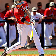 Mississippi's Auston Bousfield (9) hits a single during the first inning of an NCAA college baseball game against Arkansas in Oxford, Miss., Saturday, May 3, 2014. (Photo/Thomas Graning)