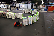 tranport inside the large warehouse hall of FloraHolland Aalsmeer Netherlands