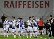 04.05.2015; Schaffhausen; Fussball Challenge League - FC Schaffhausen - FC Lausanne-Sport; Die Lausanner Spieler bejubeln das 2-0. (Steffen Schmidt/freshfocus)