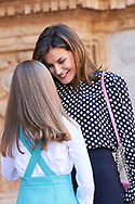 Princess Sofia, Queen Letizia of Spain leave the Cathedral of Palma de Mallorca after Easter Mass on April 1, 2018 in Palma de Mallorca, Spain