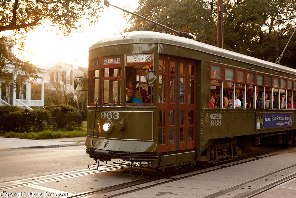 Streetcar on St. Charles Avenue in the Garden District/Uptown in New Orleans.
