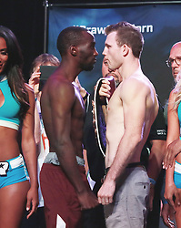 June 8, 2018 - Las Vegas, Nevada, United States of America - WBO  Welterweight Boxing Champion  Jeff Horn and  undisputed Junior Welterweight Champion Terrence Crawford square off at the weighin ceremony on June 8, 2018 for their  WBO Welterweight World title fight at the MGM Grand Arena  in Las Vegas, Nevada. (Credit Image: © Marcel Thomas via ZUMA Wire)