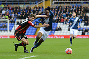 Birmingham City midfielder Viv Solomon-Otabor skips past Bournemouth defender Jordan Lee during the The FA Cup third round match between Birmingham City and Bournemouth at St Andrews, Birmingham, England on 9 January 2016. Photo by Alan Franklin.