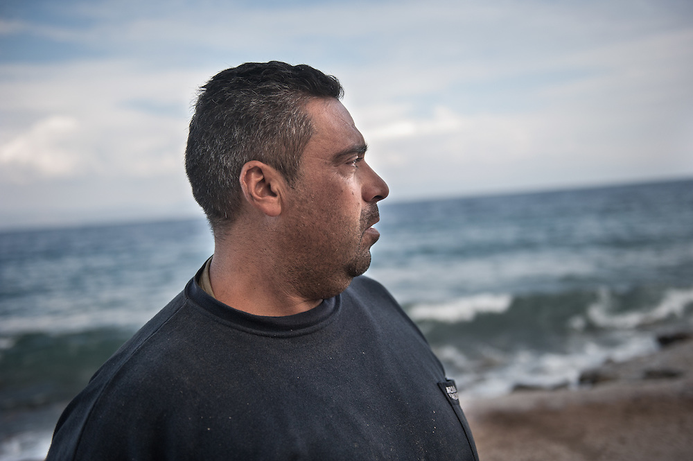 Kostas Pinteris a local fisherman from Skala Sykamias that saves refugees and migrants from the sea. Lesvos, Greece