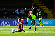 Jabo Ibehre (14) of Cambridge United shoots at goal during the EFL Sky Bet League 2 match between Exeter City and Cambridge United at St James' Park, Exeter, England on 5 August 2017. Photo by Graham Hunt.