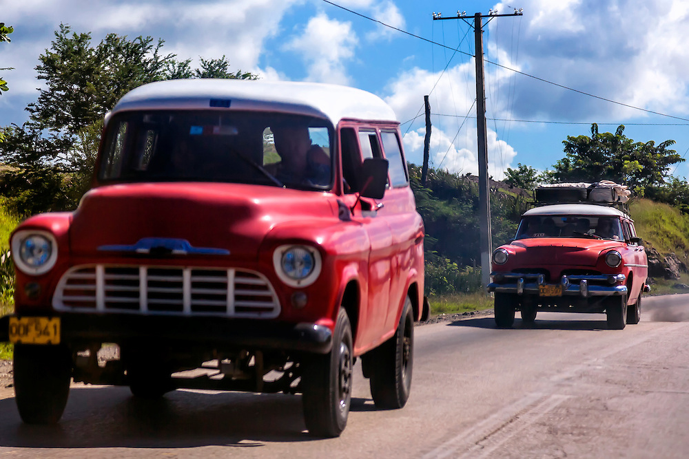 Red and white traffic in Cueto, Holguin, Cuba.