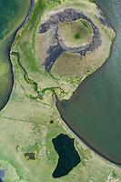 Skutustadagigar pseudocrater, Lake Myvatn, northern Iceland - aerial