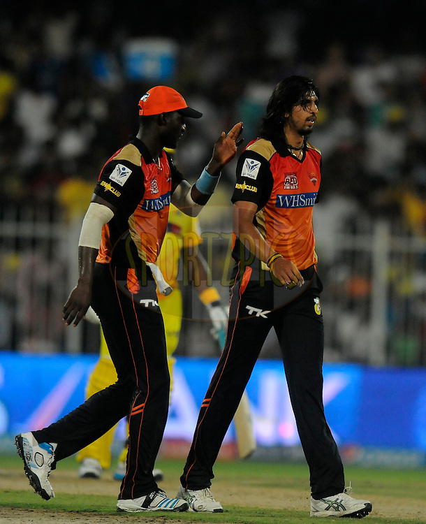 Ishant Sharma of the Sunrisers Hyderabad walks back after taking the wicket of Suresh Raina of The Chennai Superkings during match 16 of the Pepsi Indian Premier League 2014 between the Delhi Daredevils and the Mumbai Indians held at the Sharjah Cricket Stadium, Sharjah, United Arab Emirates on the 27th April 2014<br /> <br /> Photo by Pal Pillai / IPL / SPORTZPICS