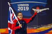 Scott Quin of Great Britain carries the Union Jack flag during the opening ceremony at the World Para Swimming Championships 2019 Day 1 held at London Aquatics Centre, London, United Kingdom on 9 September 2019.