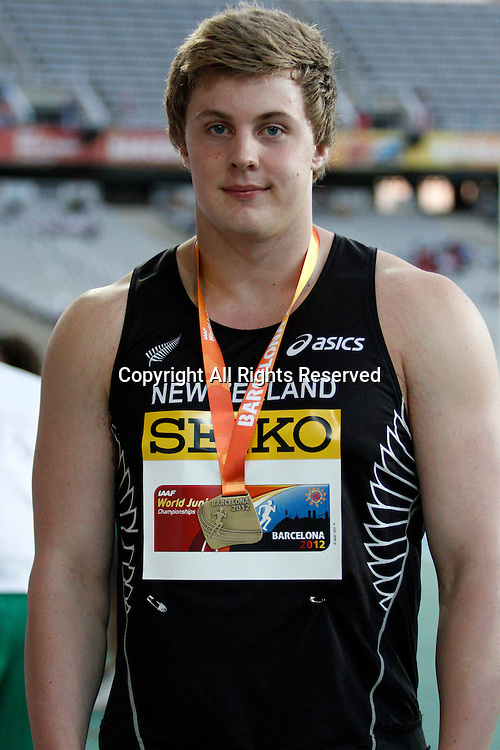 11.07.2012 Barcelona, Spain. Shot Putt 6kg Jacko Gill NZL gold medal  at the IAAF World Junior Championships from the Montjuic Olympic Stadium in Barcelona.